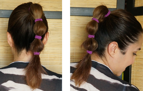 high ponytail with bubbles