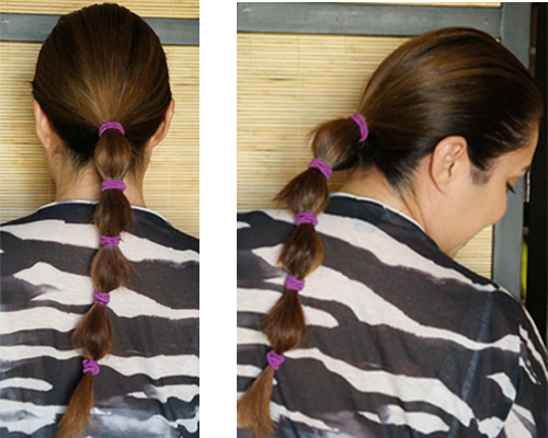 low ponytail with bubbles