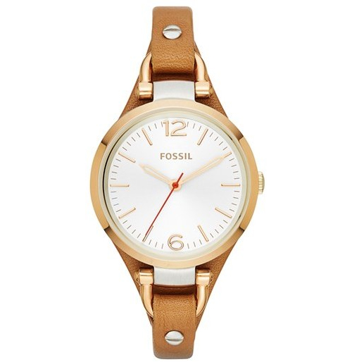 Fossil 'Small Georgia' Leather Strap Watch, $95