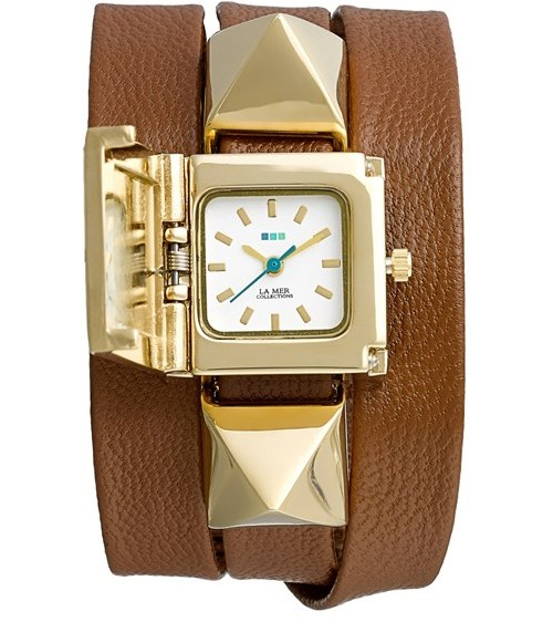 La Mer Collections 'Cairo' Pyramid Stud Leather Wrap Bracelet Watch, $95