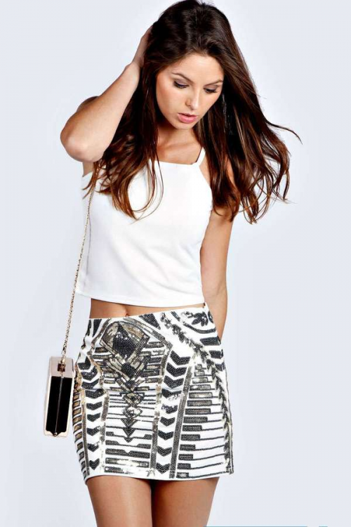 Kate Heavily Beaded Mini Skirt, $30 BooHoo