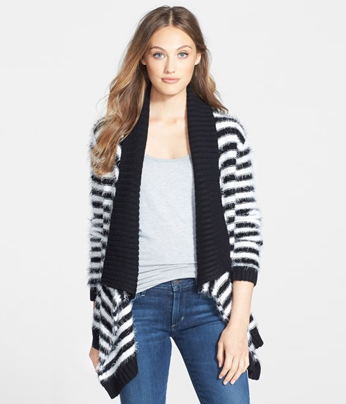 Eyelash Yarn Stripe Open Front Cardigan, $68