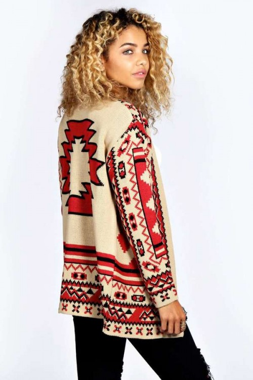 Ally All Over Aztec Print Cardigan, $16