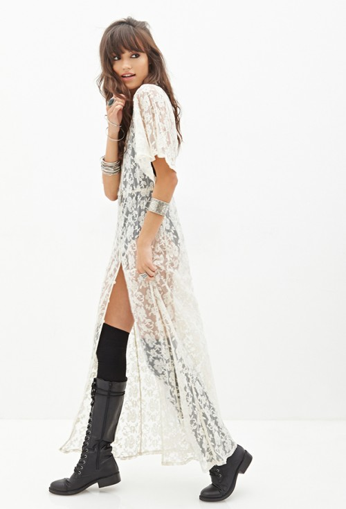 FOREVER 21 Buttoned Lace Maxi Dress, $40