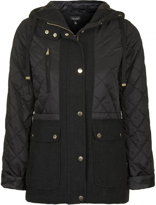 TOPSHOP Hooded Quilted Jacket on sale for $65, originally $115.