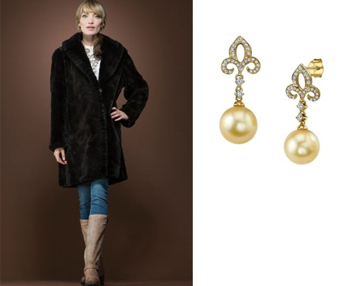 pearls and fur casual look