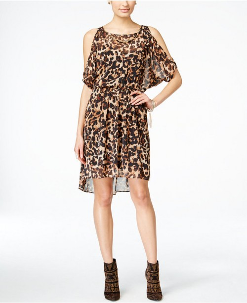 Thalia Animal Print Cold Shoulder Dress, $89.50