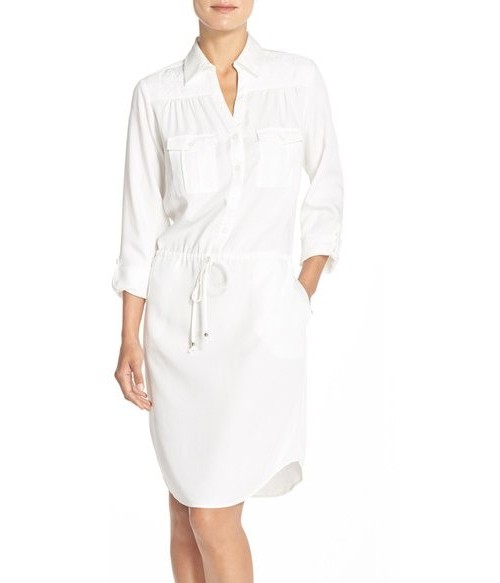 Embroidered Tencil Shirtdress, $98