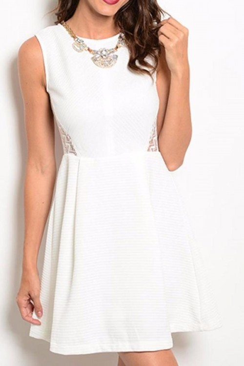 White Dress with Lace Insets, $42