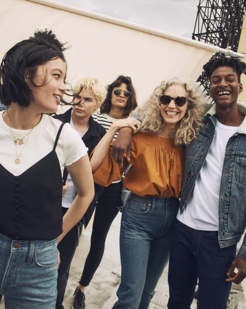 Photo image of a group of young models wearing Madewell denim and fall fashion for a blog post about the Madewell store opening in Las Vegas.