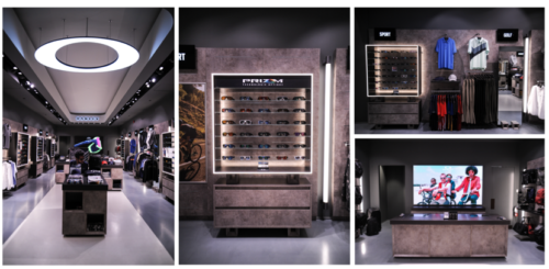 A photo collage of four photos from the interior of the new Oakley shop at Downtown Summerlin in Las Vegas.