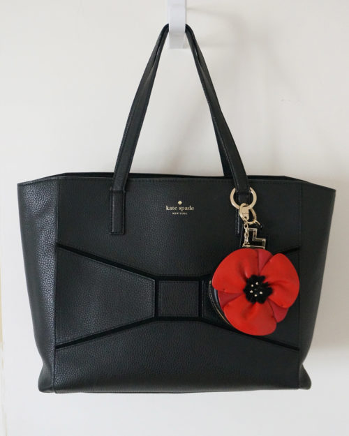 A photograph of a black Kate Spade tote bag used in a blog post about how to keep tote bags organized.