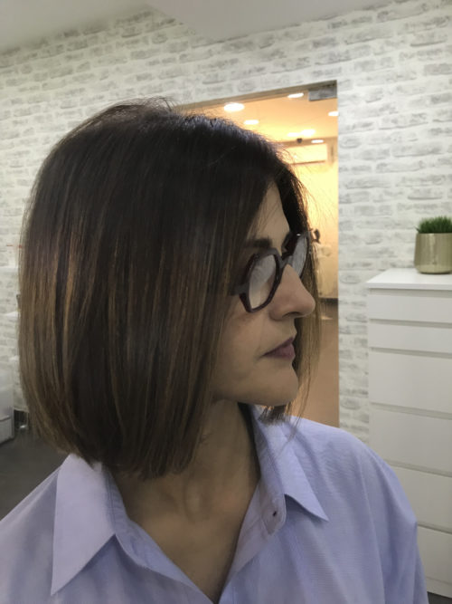 A photograph of a modern bob hairstyle for a new fall look.