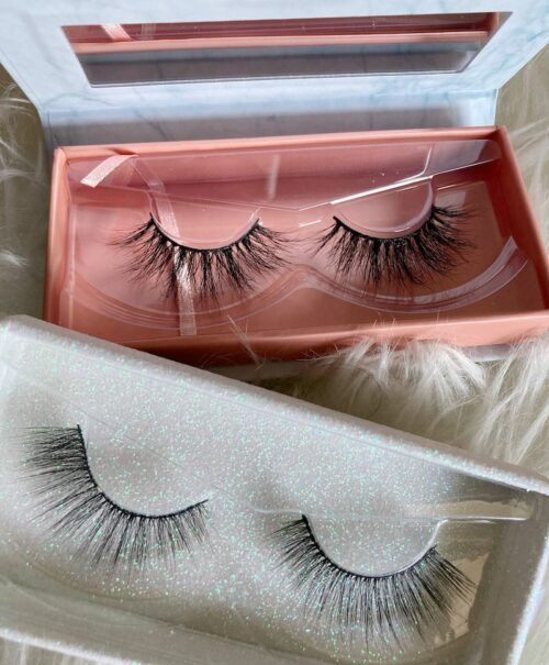 A photograph of two sets of mink lashes.