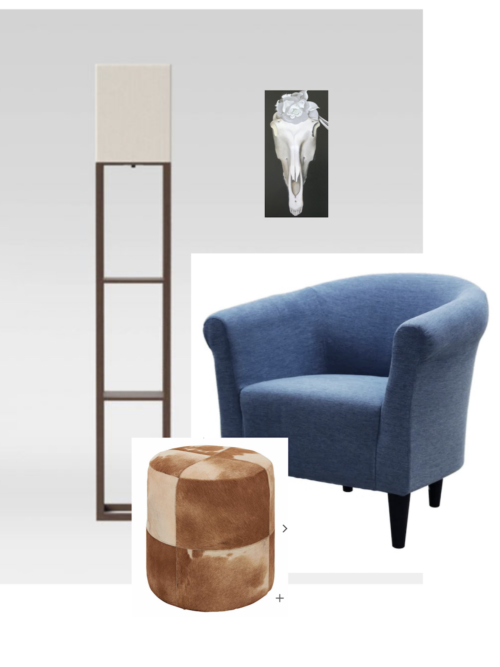 This is an image collage of the pieces I wanted to use to decorate my corner. The collage consists of the blue Marlee club chair from Pier 1, the brown shelf lamp from Target, the cowhide ottoman in brown and cream from Lamps Plus, and the art piece Horse's Skull with White Rose by Georgia O Keefe.