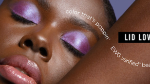 This is a closeup photograph of a model's face as she wears C'est Moi Beauty makeup now available at Target.