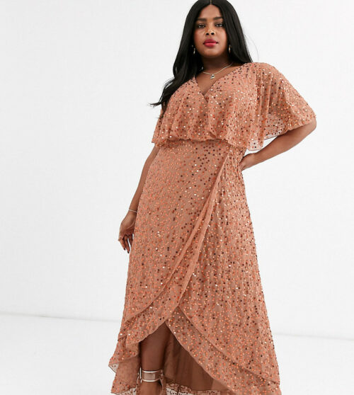 This is a photo of ASOS DESIGN Curve maxi dress with cape back and dip hem in scatter sequin.