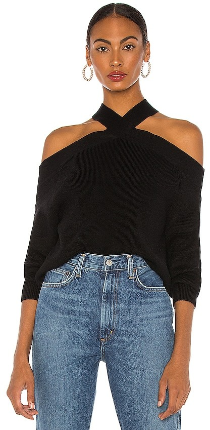This is a photo of the Line & Dot cold shoulder sweater in black.