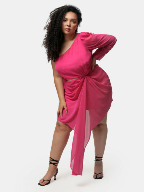 This is a photo of the Luvmemore One Shoulder Kat Dress in hot pink.