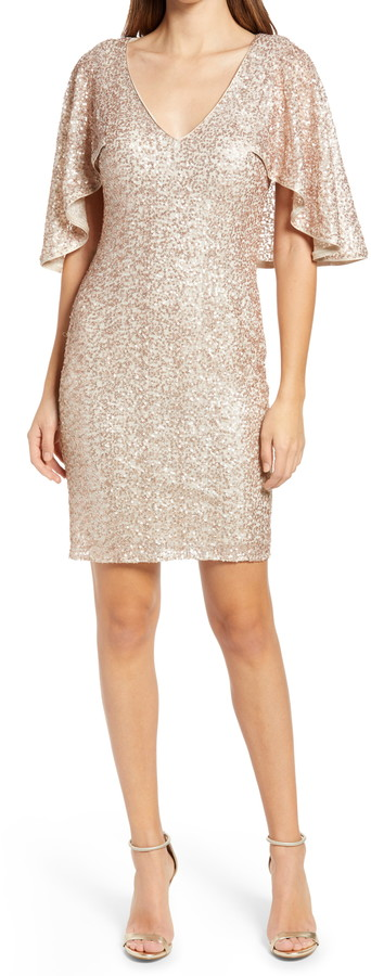 This is a photo of the Vince Camuto Sequin Capelet Cocktail Dress.