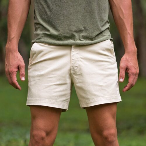 """This is a photo of Bearbottom 5.5"""" short shorts for men in the sand dune color."""